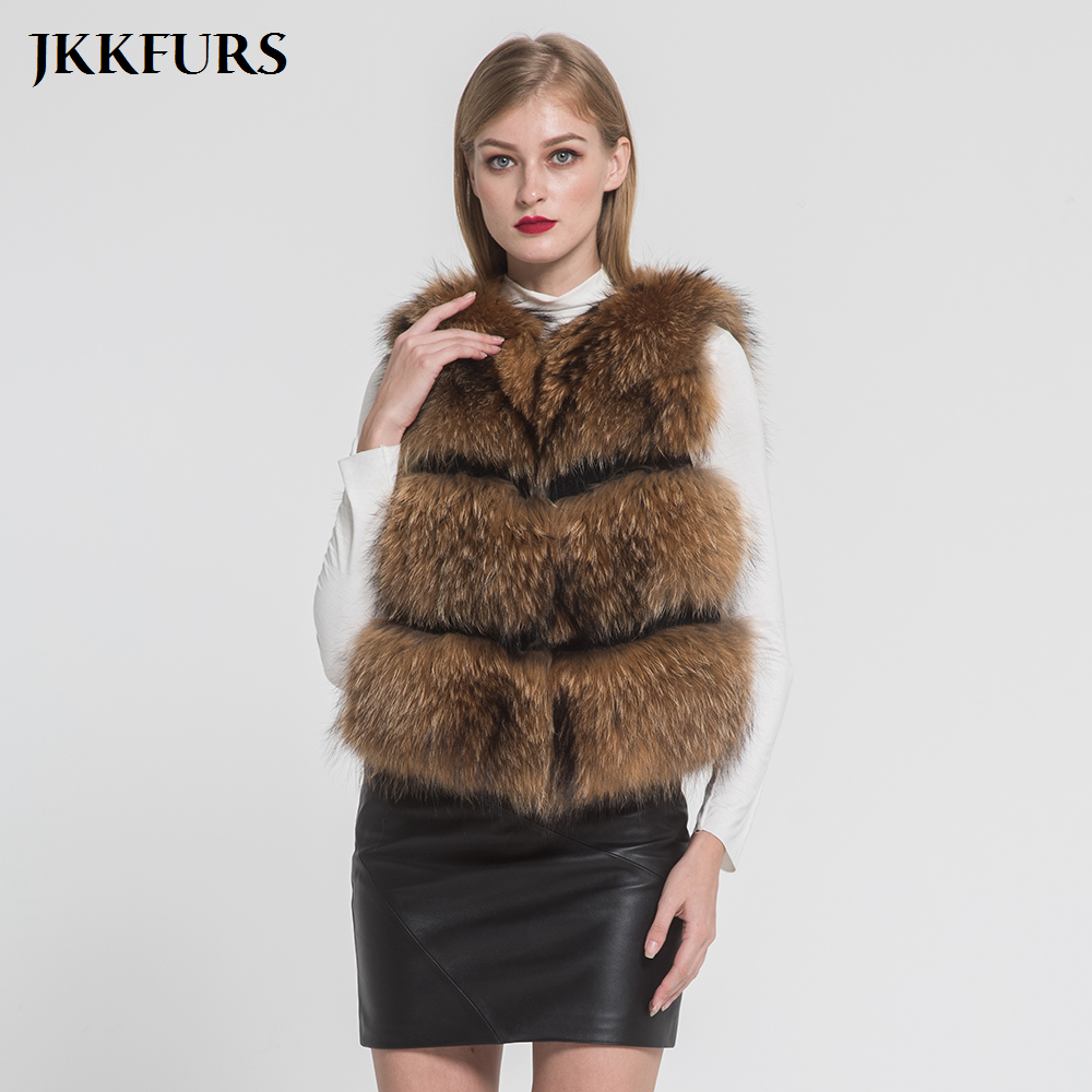 4db07cf6dcb JKKFURS New Arrival Women s Vest Real Raccoon Fur Gilet Fashion Style  Winter Thick Warm Top Quality