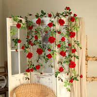 70 zoll Rote Rose Blume Reben für Home hochzeit Pipeline Decor Realistische Visuelle Wahrnehmung Wand Mount Blume String Freies biegen