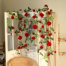 Xuanxiaotong 180cm Red Rose Flowers Vine for Home Wedding Decor Wall Mount Flower String Free Bending Artificial Rattan