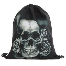 Унисекс сумка на шнурке Хэллоуин Череп рюкзаки 3D Сумка на шнурке с рисунком сумка нарисованная струнная сумка# C