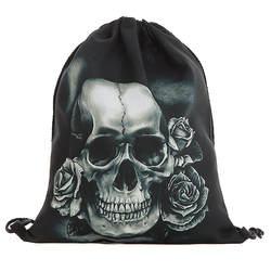 Унисекс шнурок мешок Хэллоуин Череп рюкзаки 3D печать сумки шнурок мешок мешки с завязками # C