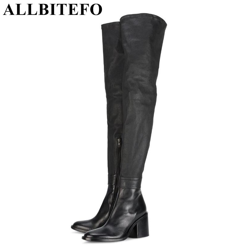ALLBITEFO size:33-43 genuine leather+Stretch fabrics pointed toe thick heel women boots women high heel shoes sexy boots free shipping 2013 genuine leather high heel casual cotton padded shoes plus size 40 43 boots thick heel women s boots z476