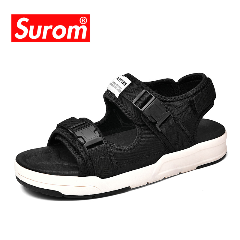 SUROM 2018 Men's Beach Sandals Summer Casual Shoes Unisex Flat Sandal For Youth Boys Breathable Walking Men Slides Shoes