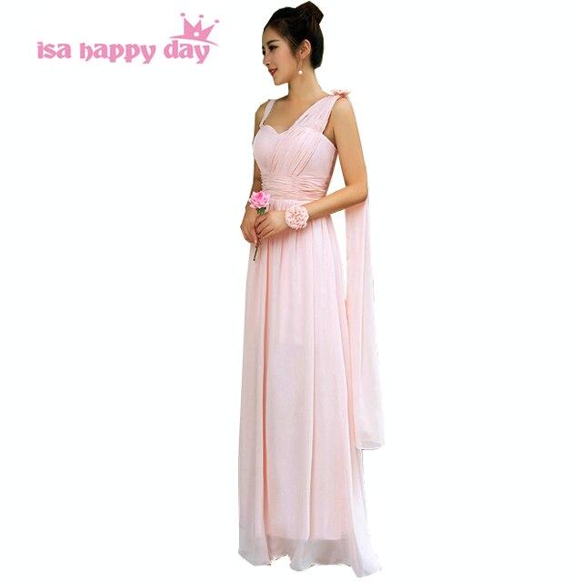Ragazza rosa chiaro una spalla lungo chiffon sweetheart abiti da damigella  d onore bridesmade vestito 84e8ba57a4f2