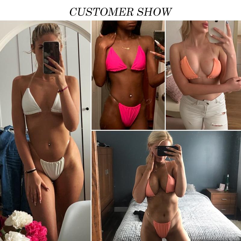 Sexy micro bikinis 2019 mujer Triangle bikini set Brazilian swimsuit female bathers High cut swimwear women Summer bathing suit