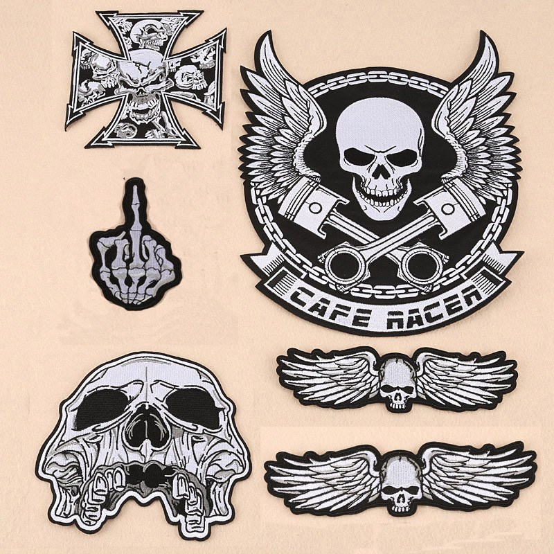 Large biker patches for vest cross patches Iron On Embroidered skeleton ghost finger bad ...