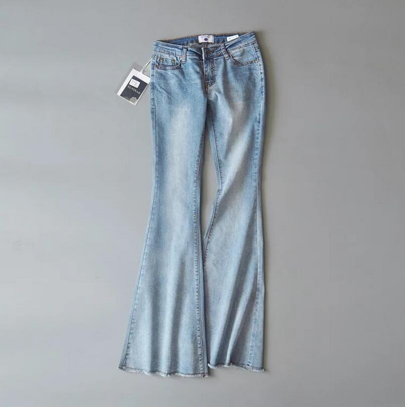2018 new women high Waist Flare Jeans Women Retro washed Bell Bottom Skinny Jeans Female Dark