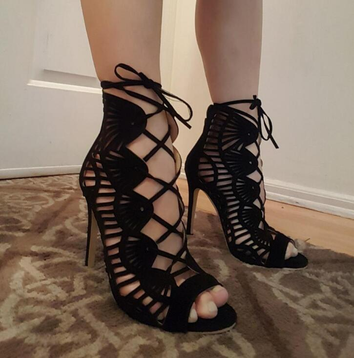 New Fashion Black Suede Leather Women Open Toe Sandals Cut Out Straps Ladies Cage High Heels Female Lace Up Stiletto Size 42 new 2017 hot selling fashion women luxury sexy black gladiator cuts out open toe lace up back 100 mm phaedra peacock sandals