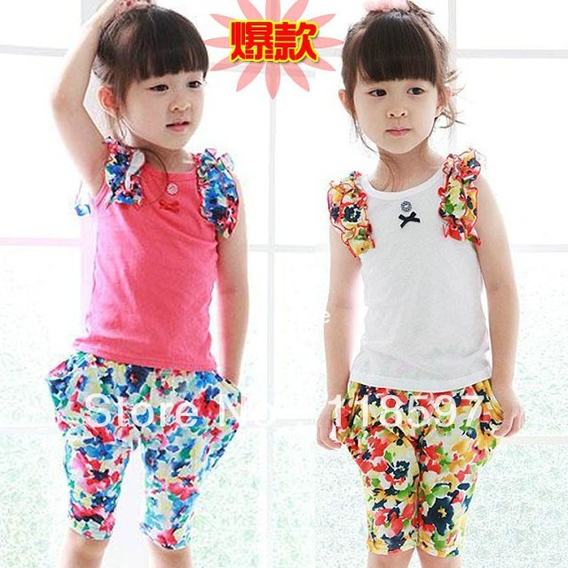 2013 children's clothing summer vest capris set female child vest set children's clothing set female
