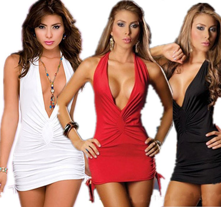 d602eb85e3 Fashion deep V-neck low-cut milk slim sexy white black red sexy lingerie  sexy dress hip tight fitting steel pipe dance clothes