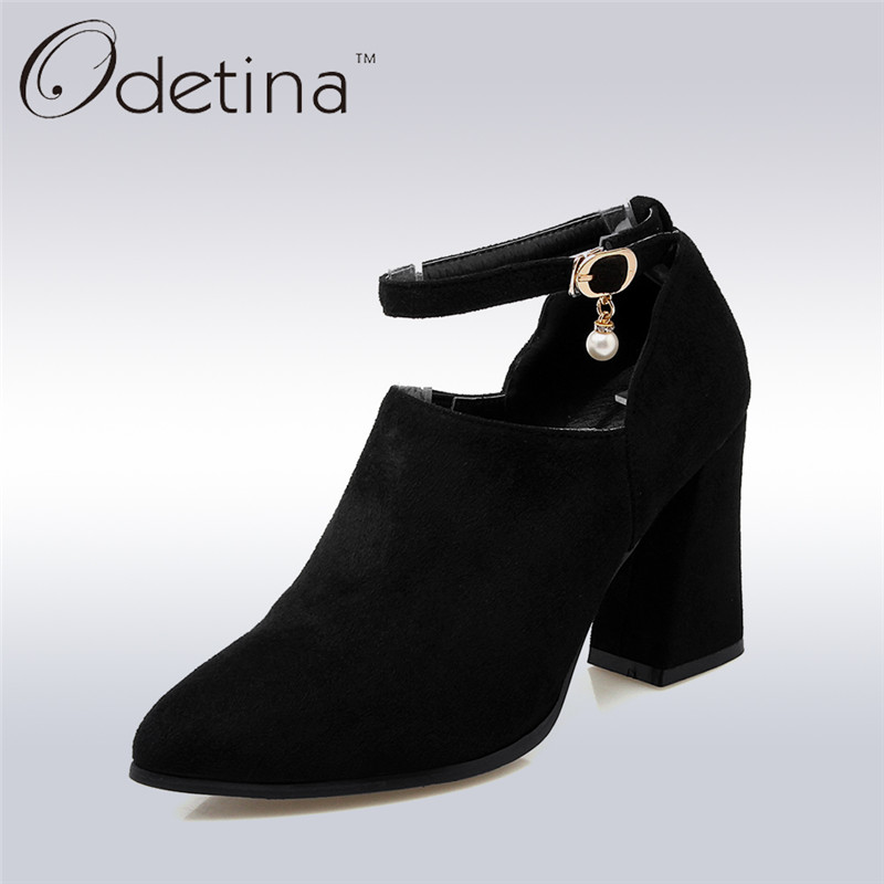 Odetina Sexy Women Square Heels Pumps Ankle Strap Pointed Toe Ladies Spring Shoes Fashion Women Thick Super High Heels Plus Size new 2017 spring summer women shoes pointed toe high quality brand fashion womens flats ladies plus size 41 sweet flock t179