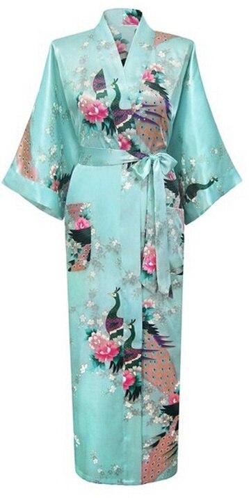 Light blue Fashion Womens Peacock Long Kimono Bath Robe Nightgown Gown Yukata Bathrobe Sleepwear With Belt S M L XL XXL XXXL