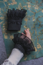 Korean version of the multi-layer black lace pleated autumn and winter women's knitted sweater gloves fake sleeves