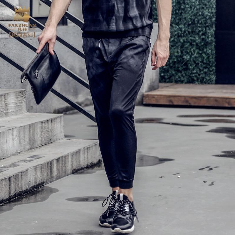Fanzhuan 2017 summer Free Shipping New Male fashion casual men's man Slim Pencil trousers 711033 pants Tie dye Ribs skinny jeans harajuku skinny pencil jeans new women fashion slim mid waisted casual holes skinny pencil jeans