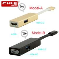 CHYI USB 3.1 HUB Type C to HDMI/VGA PD 4K HD TV Transmitter Thunderbolt 3 Type c Female with USB 3.0 5Gbps Port Splitter Adapter