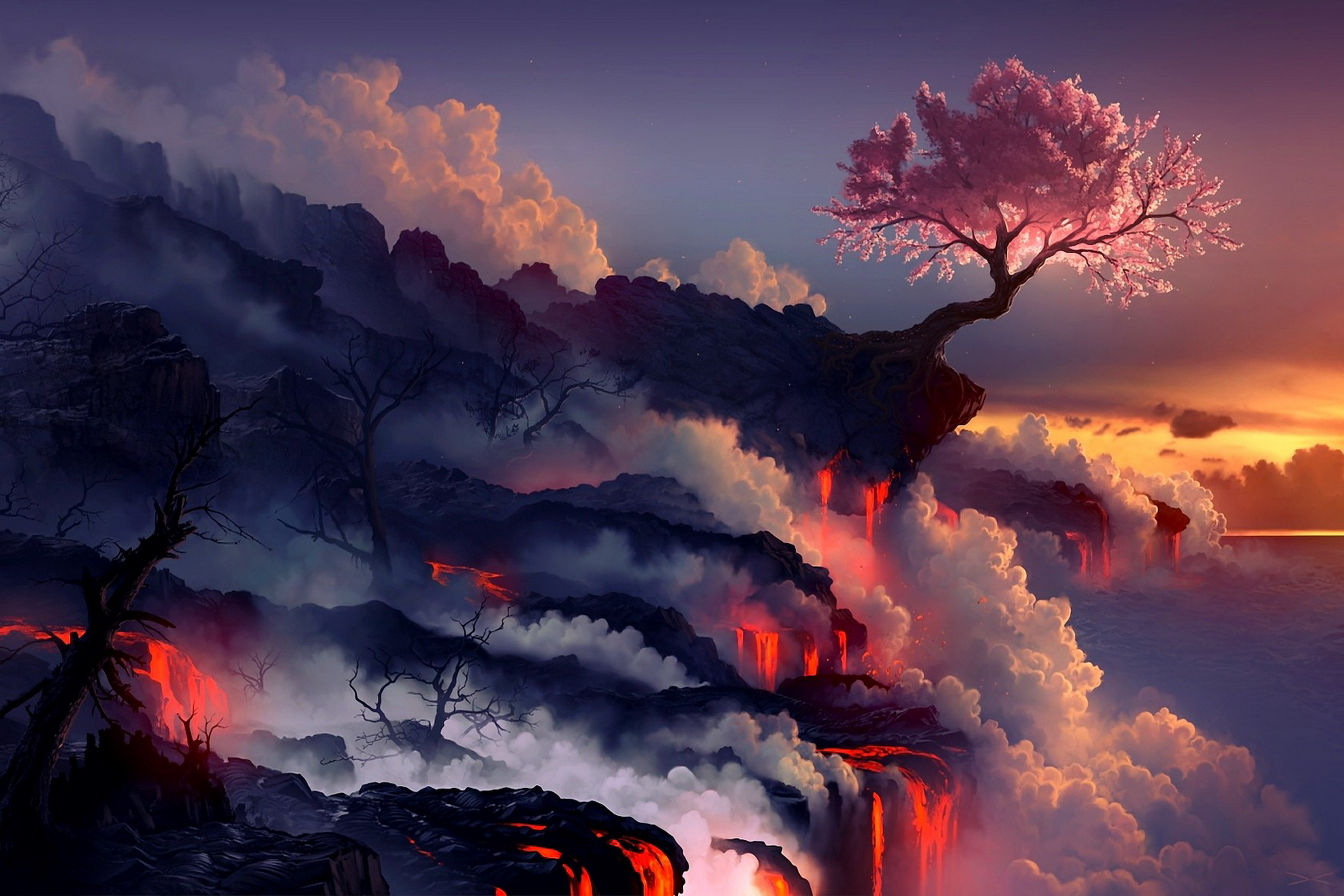 Us 6 92 37 Off Home Decoration Lava Sunset Smoke Nature Landscapes Fantasy Art Cherry Blossoms Silk Fabric Poster Print 274fj In Painting