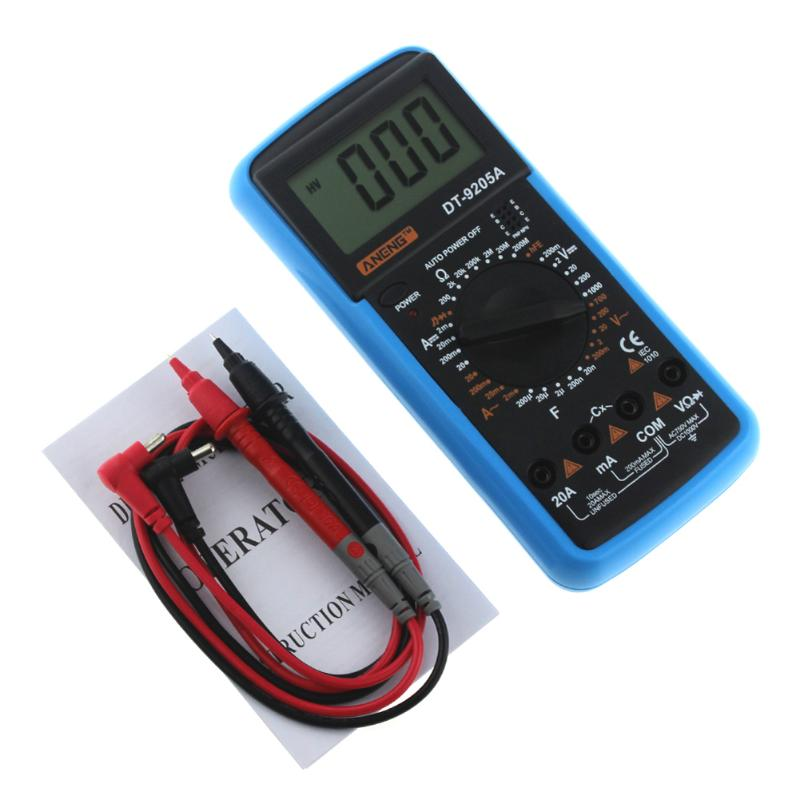 ANENG DT-9205A Multimeter Tester Lead Digital DC/AC Voltage Current Resistance Tester Capacitance Frequency Temperature Meter uxcell digital multimeter ac voltage current resistance capacitance frequency temperature tester meter 600mv 6v 60v 600v 1000v
