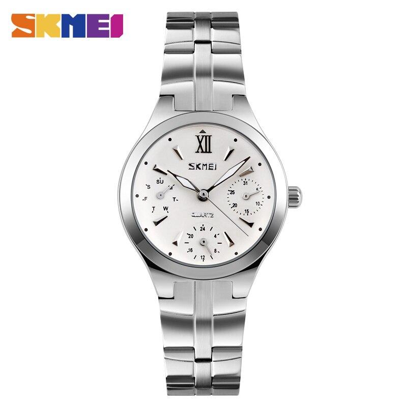 Prix pour SKMEI 9132 Femmes bracelet de Quartz De Mode Bracelet En Acier Inoxydable Femme Montre Automatique Date 12/24 Heures Étanche Femelle Montres