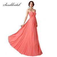 Cheap Long Prom Dresses Sweetheart Chiffon Floor Length A Line Party Evening Gowns Sexy Lace Up Back Vestido Longo CF182
