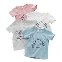 Short Sleeve Baby Boys T-Shirts Cotton Boy's Clothing Baby Tshirt Cartoon Fish Casual Top Baby Summer First Birthday Boy Clothes(China)