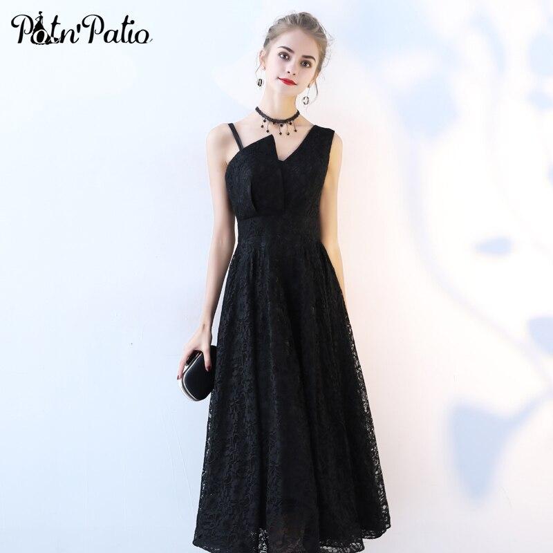 PotN'Patio שחור תחרה קוקטייל שמלות אלגנטי אחת כתף שרוולים בינוני ארוך תחרה ערב מסיבת שמלות 2018