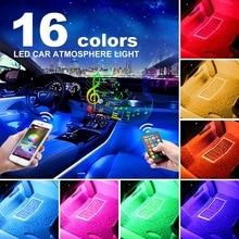 16 colori di RF RGB HA CONDOTTO La Striscia Lampada Atmosfera Ambiente A Distanza e di Controllo APP Auto Decorative Luci 5050 36SMD Interni Auto luce