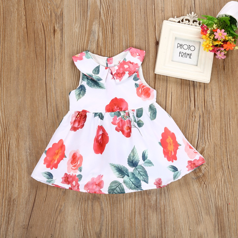 new flowers adornment butterfly knot girl princess dress Baby girl clothes 2018 new summ ...