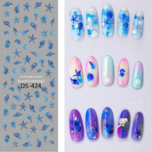 1 Pc Colorful Flower Starfish Lavender Cute Animal Watermark Large Sheet Decal Sticker DS-421-429 Japan Manicure Nail Sticker(China)