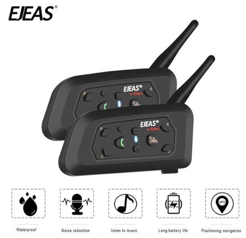 EJEAS 2PCS Helmet Headset Motorcycle Intercom Bluetooth Interphone Moto Interfone Waterproof 1200m Helmet Intercom For 6 Riders