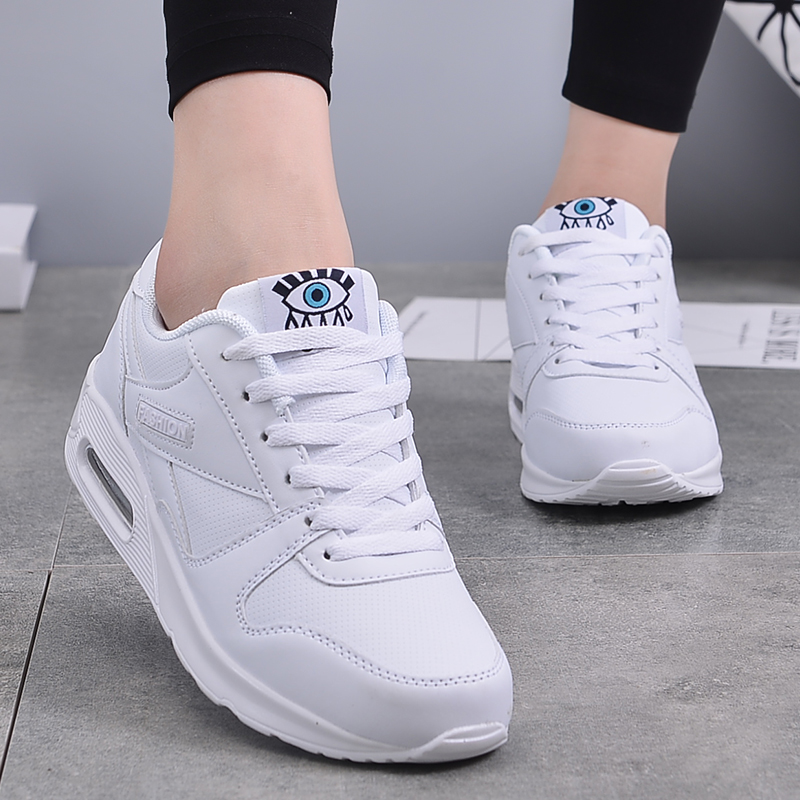 2019 NEW Women Shoes Platform Wedge Flats Pu Leather Increasing Shoes Ladies Flat Mesh Sneaker Women Casual Comfortable Footwear(China)