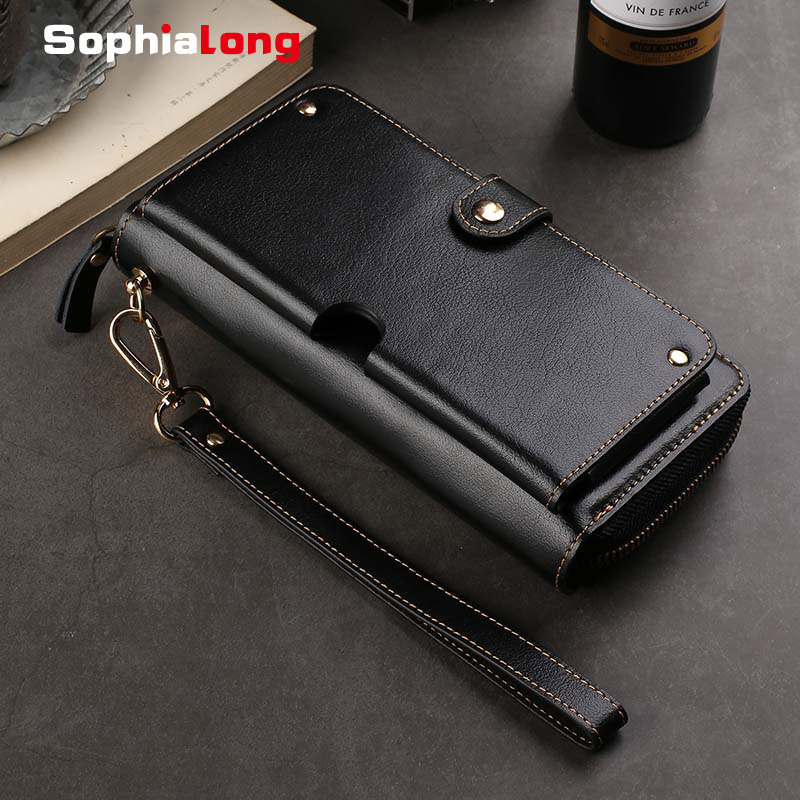 Genuine Leather Wallet Case for Samsung A8S A6S J3 J7 J8 2018 S10 Case for iPhone XS X XR Huawei Mate RS P20 P30 Pro Capa Fundas