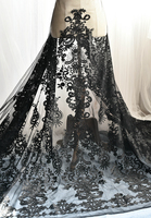 150*100cm black lace vintage flower embroidery lace fabric thickening embroidery Material fabrics for patchwork