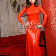 Suitop classical latex red long dresses for women