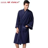 Men Homewear Robe For Mens Waffle Cottob Bathrobe Black White Robes Male Long Bath Robe Dressing