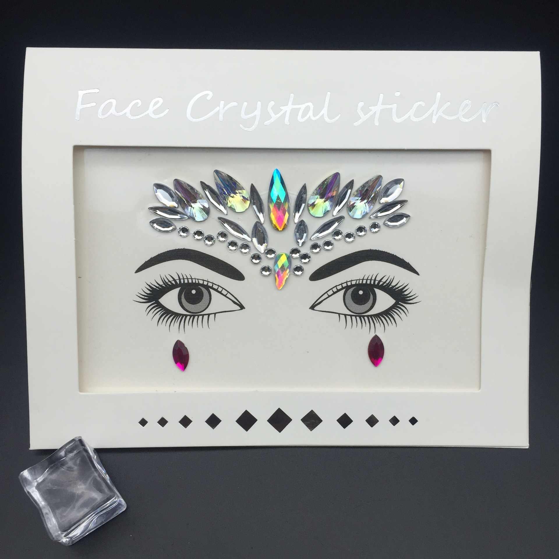 Cara de Mascarada decoración DIY joyería acrílica Diamante de imitación fiesta tatuaje temporal moda cara pegatinas para mujeres