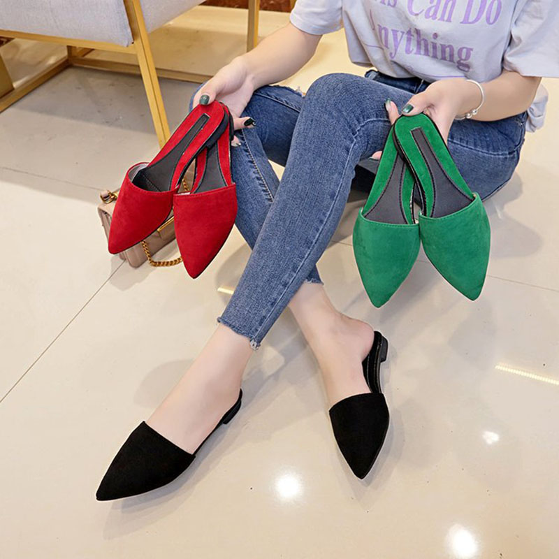Bailehou Classic Shoes Woman Pointed Toe Slippers Flat Mules Shoes Women Slippers Fashion Ladies Outdoor Shallow Slides Casual bailehou flats casual woman slippers fashion fur women shoes slip on mules female loafers shoes outside slides ladies slippers