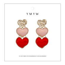 YMYW 2019 Luxury za Heart Dangle Personalized Enamel Earrings for Women Pendant Statement Drop Party Jewelry Oorbellen