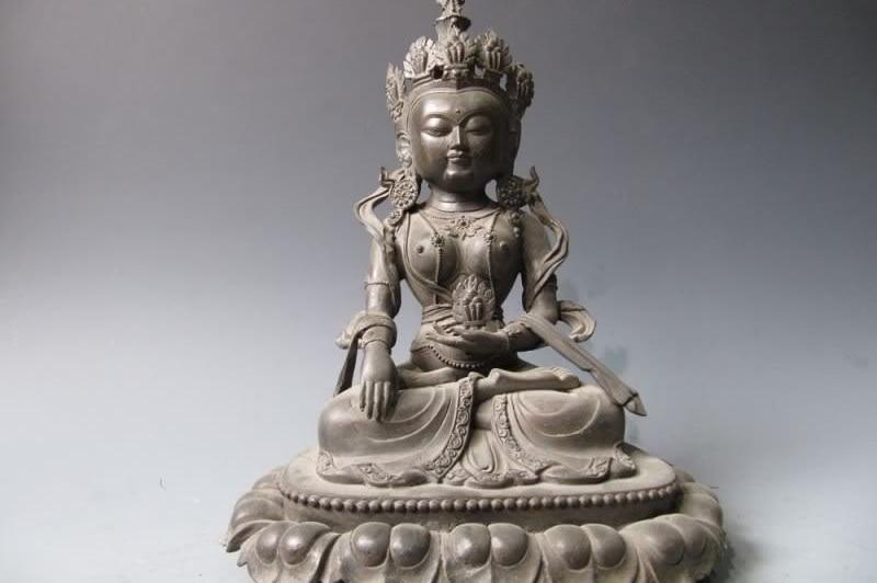14 Tibet Buddhism Pure Bronze Copper wheel Kwan-yin Guan Yin Bodhisattva statue