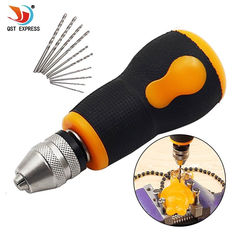 10pcs Twist Drill Hand Tool Hand Drill Mini Small Hand Grip Carpenter's Chuck