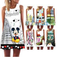 Oferta vestido de verano para mujer estampado 3D mariposa sin mangas Beatch vestido bohemio Casual vestidos de verano 2019 mujer