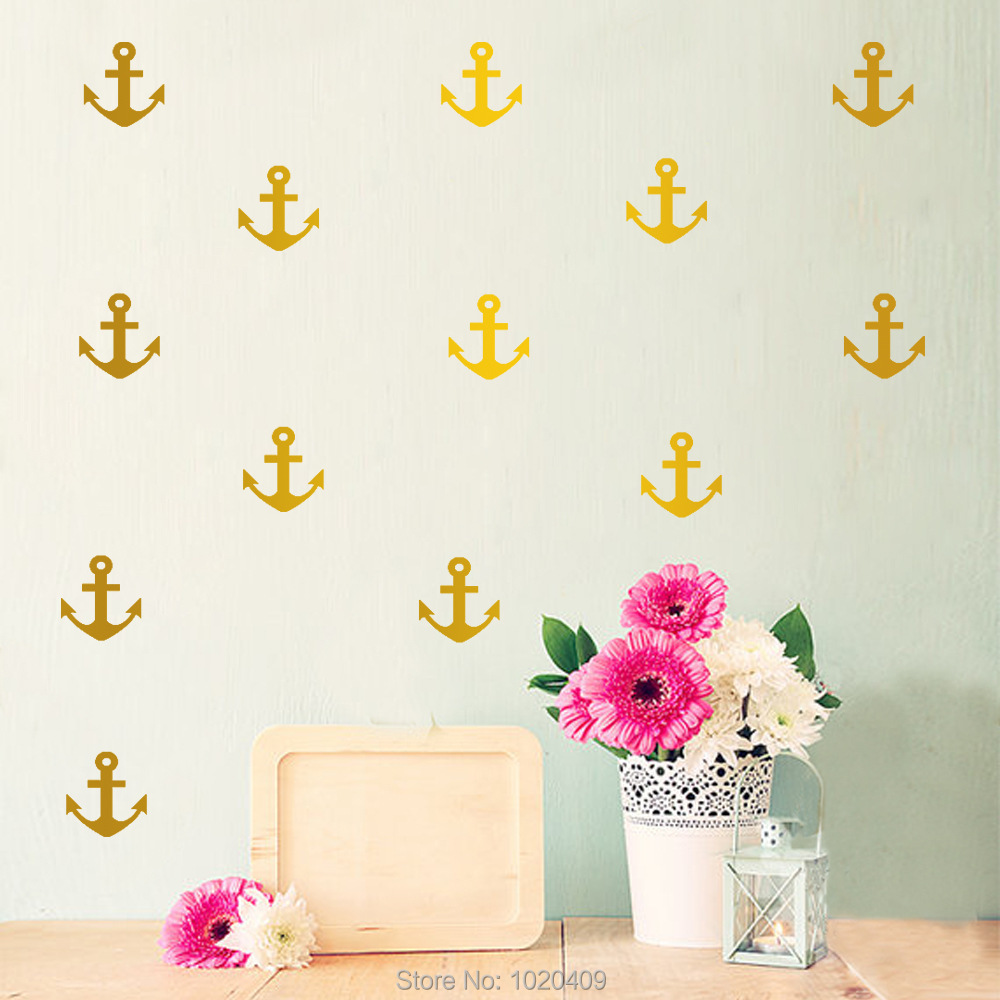 Home Furnishing decorative Exclusive Direct wall sticker Fairy Navy Style ships anchor PVC wallpaper children room decor LV038