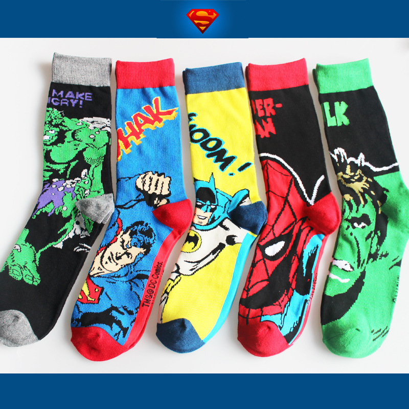 Movie Marvel Avengers Superman Batman SpiderMan Hulk men cotton   sock   breathable perspire comfortable calcetines dibujos hombre