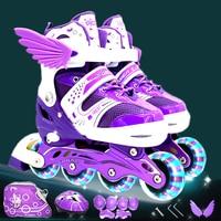 Roller Skating Shoes A Set Children Kid Inline Skate With Helmet Knee Protector Gear Bag Adjustable Flashing Wheels Patines IA97