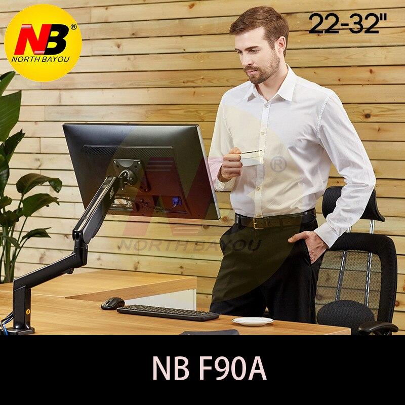NB F90A Plein Mouvement 22-32 pouce Écran Moniteur Titulaire Mécanique Printemps Long Bras LED LCD Moniteur Mont Soutien avec 2 USB Ports