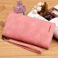 Solid smooth leather long Women wallet with removable wrist strap brand designer female clutch purse carteira feminina