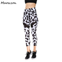 Maoxzon Womens Mesh Panelled Fitness Slim Cropped Leggings Ladies Athleisure Leopard Galaxy Print Elastic Skinny Mid