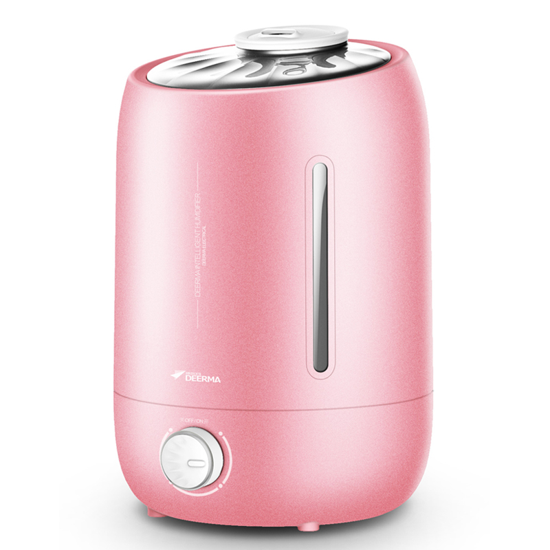 DEERMA Humidifiers 5L Large Mute Ultrasound Capacity Sterilization Pink Humidifier Air Aroma Diffuser Purifier Mist Maker F500S