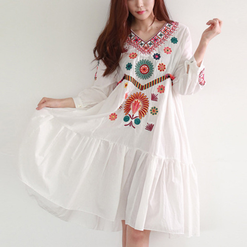 Bohemian embroidery maternity dress 2016 summer fashion cotton maternity dress women pregnancy clothes vintage chinese style slim long dress 2016 summer new fashion embroidery ankle length dress for women