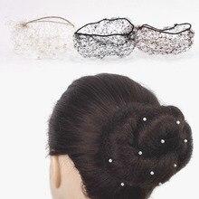 女性見えないバレエbunキャップで真珠黒茶色ブロンドバレエおだんごヘアカバーバレエダンススケートヘアネットアクセサリー