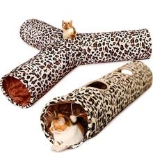 Túnel do animal de estimação 3 buracos leopardo crinkle gatinho jogar brinquedo com bola tubo túnel dobrável para pequenos médio e grandes gatos coelho